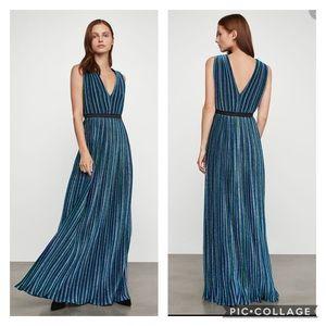 $338 BCBGMAXAZRIA Metallic Pleated Gown